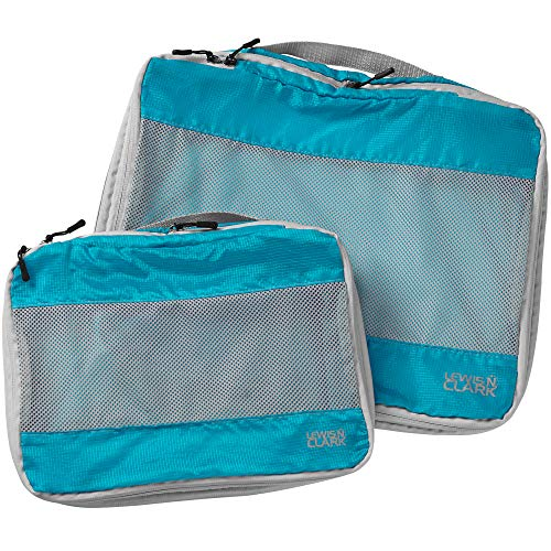 Lewis N. Clark ElectroLight Expandable Compression-Packing Cube + Travel Organizer for Luggage, Suitcase or Carry On with Smart Design Grab Handle & Breathable Mesh, 2-Pack (1 Med, 1 Lrg), Bright Blue