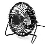 ZOMTOP 4'' USB Mini Desk Fan Small Desktop Fan Quiet and Powerful Metal Design USB Powered (Black)