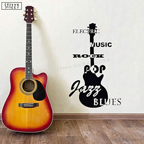 jiushizq Wandtattoo Kreative Gitarre Muster Wandaufkleber Zitate Rockmusik Noten Jazz Blues Fenster Interior Art Decor...