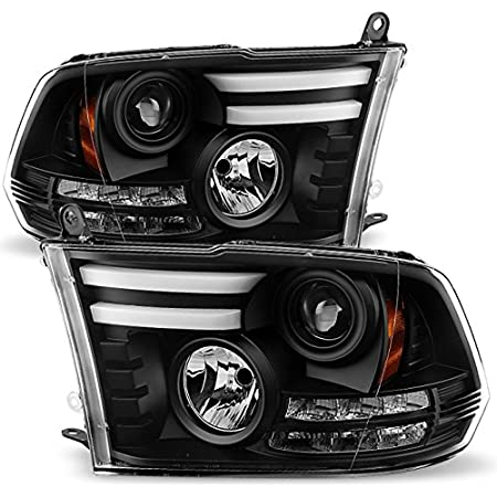 OEDRO Headlights Assembly Compatible with 2009-2018 Dodge Ram 1500 2500 3500 QUAD Pickup Replacement Headlamps Black Housing Amber Side Clear Lens Headlights Set Left+Right 2-Yr Warranty