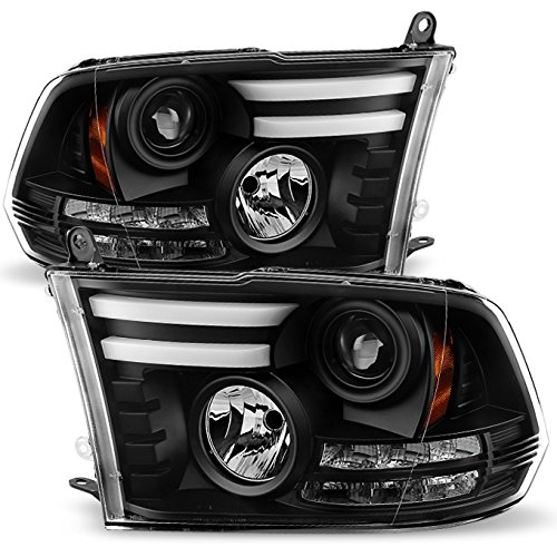 For 2009-2018 Dodge Ram 1500 2500 3500 Pickup Truck Black Bezel DRL Daylight LED Tube Projector Headlights Pair