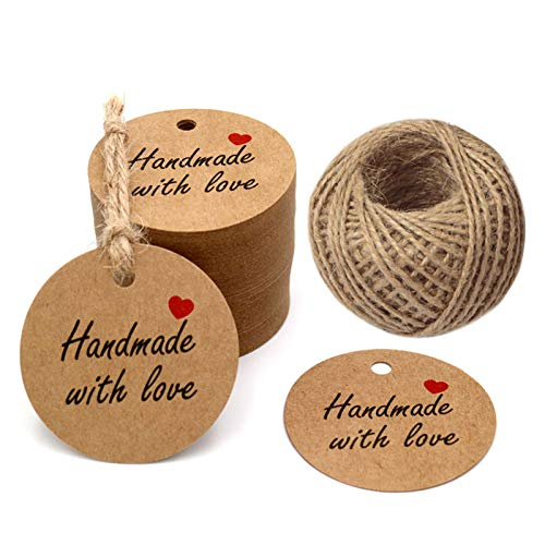 100 PCS Kraft Gift Tags 5 cm * 5 cm'Hand Made with Love' Label Birthday Luggage Round Tags Paper Wedding Labels Brown Hang Tag with 30 Meters Jute Twine (Brown)