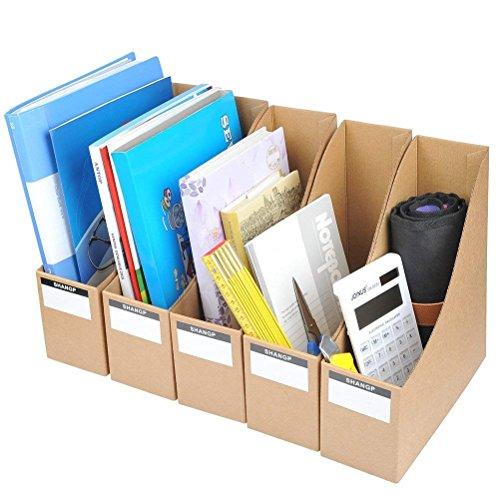 YOTINO Archivador de Kraft Papel, 5 Unidades Caja de Almacenamiento de Escritorio, Archivos Organizador, Revistero Archivadores de Cartón para Organizador de Documentos y Archivos/9 x 26.3 x 27 cm