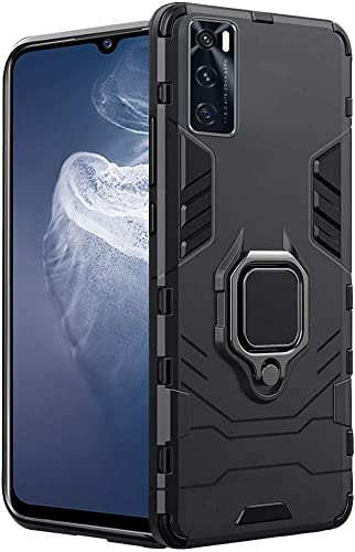 TheGiftKart Tough Armor Bumper Back Case Cover for Vivo V20 SE Ring Holder Kickstand in Built Excellent 360 Degree Protection Carbon Black