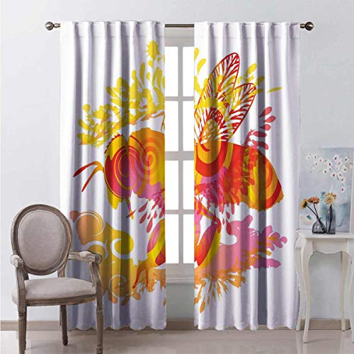Queen Bee 99% Blackout Curtains Honey Collecting bee with Abstract Vibrant Color Palette Summer Inspirations for Bedroom Kindergarten Living Room W42 x L84 Inch Multicolor