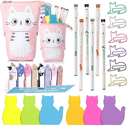 Cat Office Supplies Cat shaped Sticky Notes Paper Clips Transformer Telescopic Pencil Pouch product image