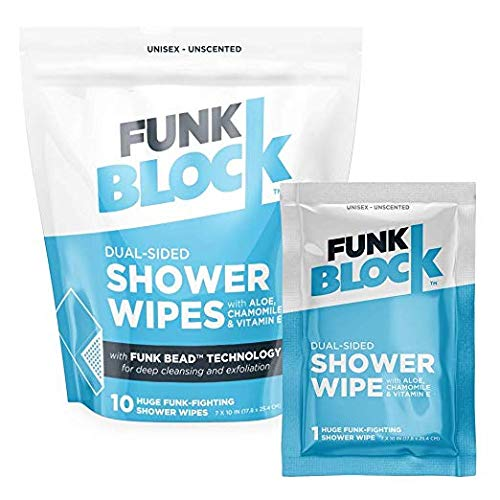 FunkBlock Body Wipes: Large Shower Wipes Ideal for Hygiene, Body Cleansing, Camping Wipes, Gym & Travel. No Rinse Bathing Wipes with Aloe and Vitamin E. Bag of (10) Unscented, Individually Wrapped