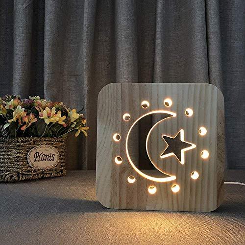 Viewsys Lámpara de mesa de la estrella de la luna creativo LED decorativo de madera luz de la noche Hollow habitación 3D USB del sitio de niños de cumpleaños de 19 * 19 cm de escritorio simple románti