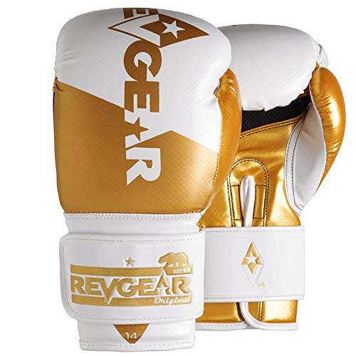 Revgear Pinnacle Boxing Glove | Entry Level | Comfortable & Stylish | Animal Free | Excellent Value (Gold/White, 12 OZ)