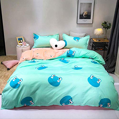 JOEYFAYE Children Cartoon Printed Duvet Cover Set, Microfiber Bedding With Pillowcase 50 * 75cm, Zipper Closure 230 * 260cm blue