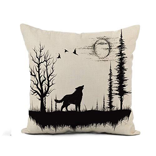 N\A Throw Pillow Cover Sketch Wolf Howling at The Moon in Forest Scene Funda de Almohada Decoración para el hogar Funda de Almohada de Lino de algodón Cuadrada Funda de cojín