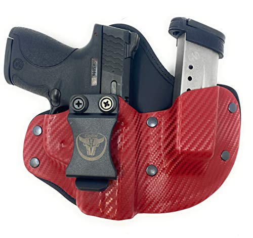 Cardini Leather USA – IWB Cáscara X - Series Hybrid Kydex and Leather Holster - Concealed Carry - Inside The Waistband with Clip for Glock 17, 19, & 23 Red Left Hand
