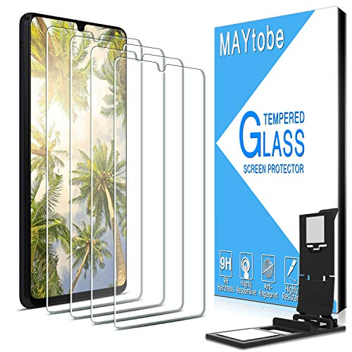 MAYtobe [4 Pack] Tempered Glass For Samsung Galaxy A42 5G, Galaxy A12, Galaxy A32 Screen Protector with Easy Installation Tray, anti Scratch, Bubble Free, 2.5D Edge, 9H Hardness