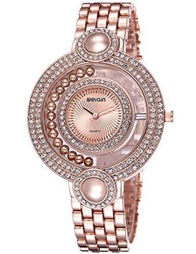 Damen-Armbanduhr, elegant, mit doppelten Kreis-Strasssteinen, goldfarben