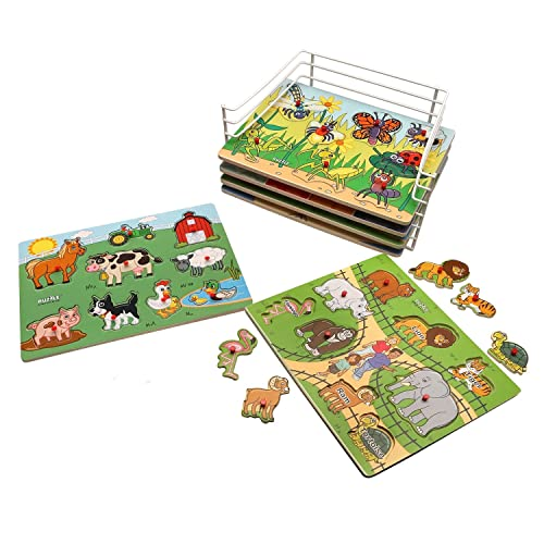 PUZZLE UNIVERSE Wooden Peg Puzzle Set - 6 Pack Wood Puzzles with Wire Storage Rack Include Zoo, Farm, Bugs, Shapes, Crayons, Food -Educational Toys for Kids 18 Months and Up