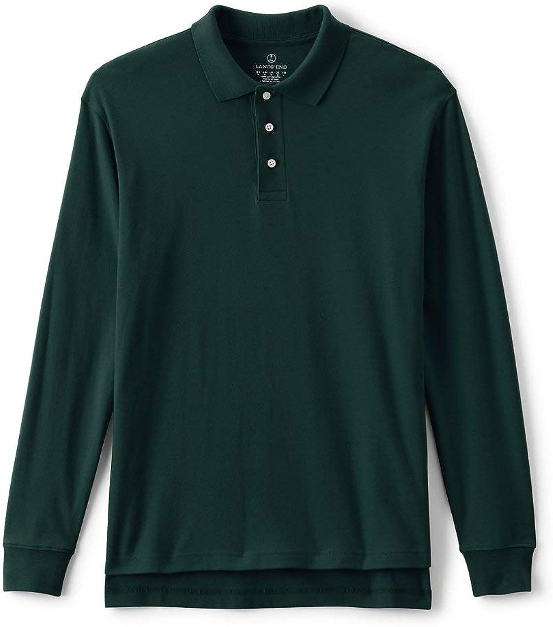 Lands' End School Uniform Men's Long Sleeve Interlock Polo Shirt