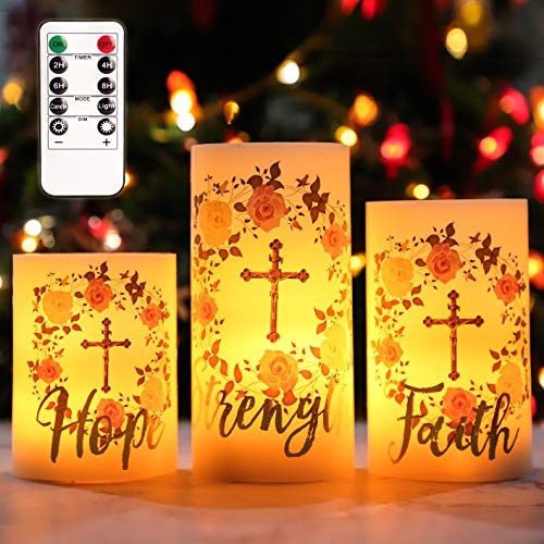 Roses, Flowers, Grass, Crosses, Letters, Angel Wings Flameless Candles Flicker, sSwinging Real Wax Glass Candles. (Rose Cross)'