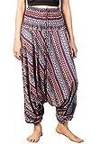 LOFBAZ Yoga Harem Pants for Women Boho Hippie Bohemian Clothing Womens Beach Indian Gypsy Clothes Genie Maternity Jumpsuit Waterdrops Purple M