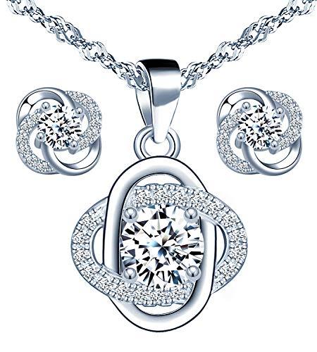 Yumilok - Parure di gioielli da donna, composta da collana e orecchini, in argento Sterling 925, con fiori e zirconi, regalo per mamma, moglie, fidanzata