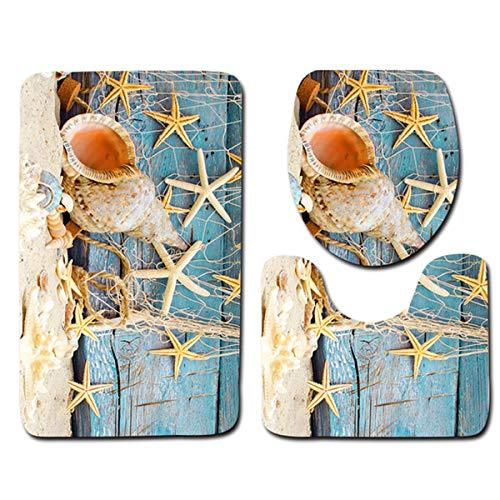 Xinapy Juego de Alfombras de Baño de 3 Piezas Patrón de Playa 3D Conchas Marinas Estrella de Mar Tortuga Alfombra de Piso Antideslizante Alfombra de Inodoro en Forma de U Cubierta de