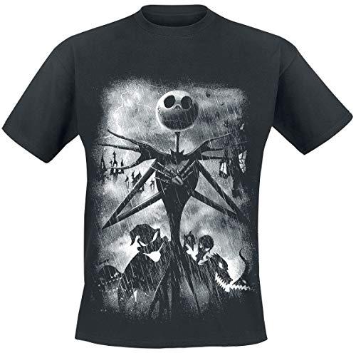 Nightmare Before Christmas L'Étrange Noël De Monsieur Jack Stormy Skies Homme T-Shirt Manches Courtes Noir L