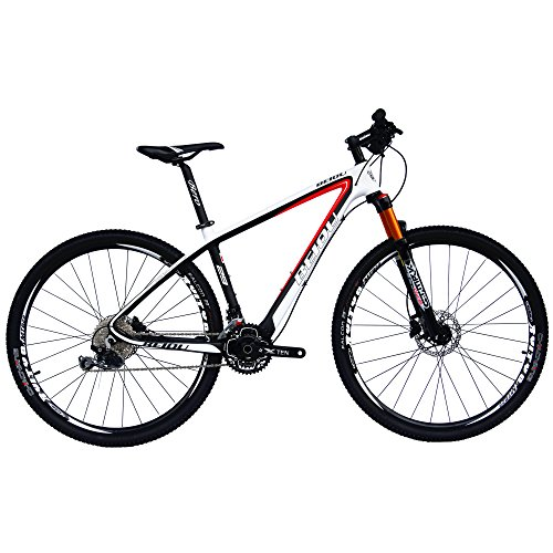 BEIOU Carbon 29er Hardtail Mountain Bike 29-Inch 2.1' Tires MTB T800 Ultralight Frame 30 Speed Shimano M6000 DEORE Bicycle 11.8kg Matte 3K CB20 (29ER White, 17-INCH)