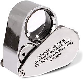 KINGMAS 40x Jeweller Loupe Folding Magnifying Jewelry Eye Magnifier With LED Light Illuminated (LED Currency Detecting/Jewlers Identifying Type Lupe)