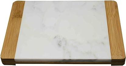 KASA Tabla para Cortar de Mármol y Bambú con Asas, 26x20 Centímetros, Tabla para Picar
