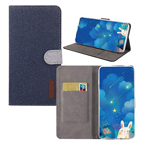 BestCatgift Minimalist Mi 8 Lite Funda,[Denim Material][Magnetic Function] PU Leather Wallet Folio Cover para Xiaomi Mi 8 Lite/Mi 8 Youth/Mi 8X - Blue