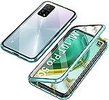 JoiCase Funda para Xiaomi Mi 10T/ Mi 10T Pro Adsorcion Magnetica Carcasa 360 Grado Protección Estuche Marco Aluminio Vidrio Templado Anti Choque Metal Flip Cover - Verde