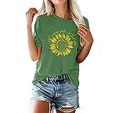 Camiseta de Mujer Tops con Estampado de Girasol Camiseta de Verano Informal de Moda Corta Suelta de Verano Corta con Cuello en V Camisetas básicas Algodón Informal Cuello Redondo Manga Corta Básico