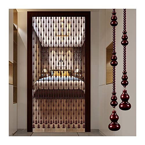 Beaded Curtain Natural Wooden Beads Door String, Peach Wood Gourd Bead Curtain, Bedroom Living Room Partition, Ventilation Dustproof, 21/25/29/35 Shares (Color : A, Size : 25 strands-80x198cm)