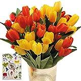 SNAILGARDEN Set di 36 tulipani artificiali con 2 colori, tulipani in seta con 1 biglietto di auguri per matrimonio, casa, festa, festival, composizioni floreali (rosso / giallo)