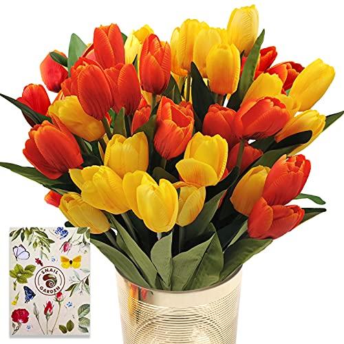 SNAILGARDEN Tulipanes artificiales de imitación de 36 cabezas de 35 cm con 2 para novia, boda, fiesta, festival, arreglos de flores (rojo/amarillo)