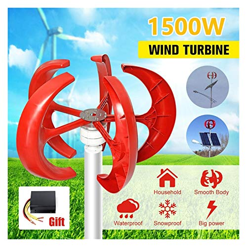 LiRongPing 1500W 12V 24V 5 Blades Vertical Axi Wind Turbines Generator Lantern Motor Kit Electromagnetic for Home Streetlight Use (Color : 24V)