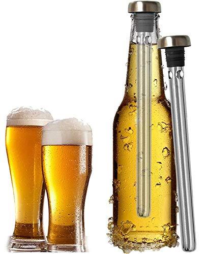 YFOX Enfriador de Cerveza de 2 Piezas,Varilla de Enfriador de Bebidas de Acero Inoxidable, Mantiene frías Las Bebidas...