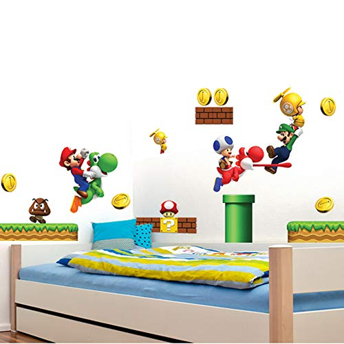 Super Mario Brothers Removable Wall Decals Stickers Kids Room Decoration Build a Scene Peel
