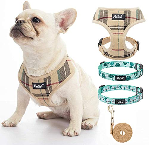 PUPTECK Dog Harness Leash and 2 Pack Collars Set for Small Medium Doggies - Easy Control and Comfortable with Soft Fabric
