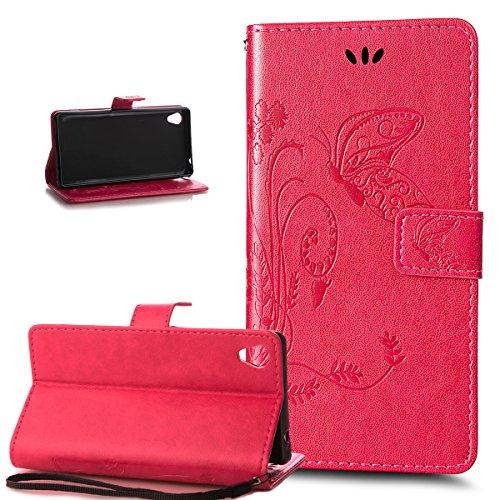 Kompatibel mit Schutzhülle Sony Xperia M4 Aqua Hülle Leder Wallet Tasche Schutzhülle,Prägung Groß Schmetterling Blumen Muster PU Lederhülle Flip Hülle Cover Schale Ständer Wallet Schutzhülle,Rose Red