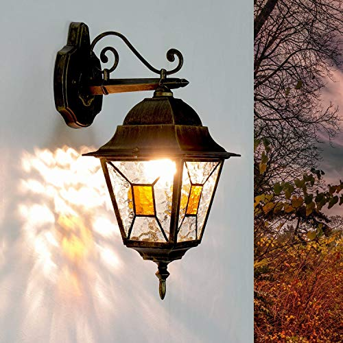 *Rustikale Wandleuchte in antikgold inkl. 1x 12W E27 LED Wandlampe aus Aluminium Glas für Garten Terrasse Weg Lampen Leuchte außen*