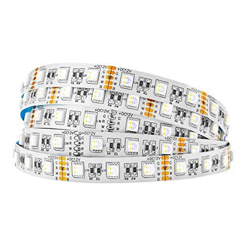 BTF-LIGHTING 5M 5050 RGBWW 4 in 1 RGB +Warm White strip Mischfarbe 60leds/m IP30 Nicht-wasserdichtes 300LEDs Band-Lampen Mehrfarbige LED-Klebeband-Lichter