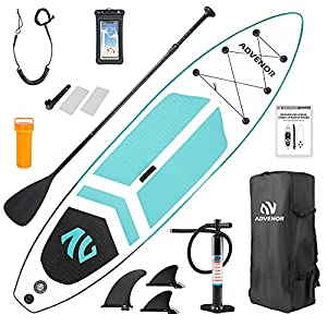 EXTRA WIDE AND LONGER DESIGN FOR BETTER BALANCE Premium inflatable paddle board with non-slip EVA deck pad is made of high quality material that can able to withstand high pressure.33 inches width board provided great stability. ULTRA LIGHT PADDLE BO...