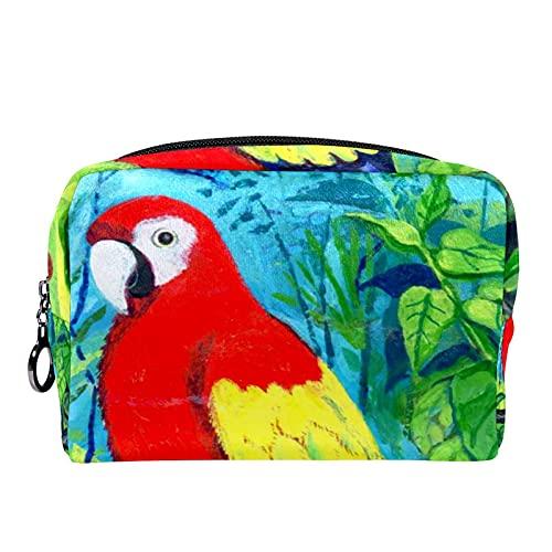 Trousse de Maquillage Voyage Maquillage Case Cosmetic Case Professional Portable Arbre Tropical Macaw Arbre Organisateur et Rangement pour Porte-pinceaux de Maquillage