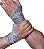 HiRui 2 Pack Wrist Compression Strap and Wrist Brace Sport Wrist Support for Fitness, Weightlifting, Tendonitis, Carpal Tunnel Arthritis, Pain Relief-Wear Anywhere-Unisex, Adjustable (Gray)