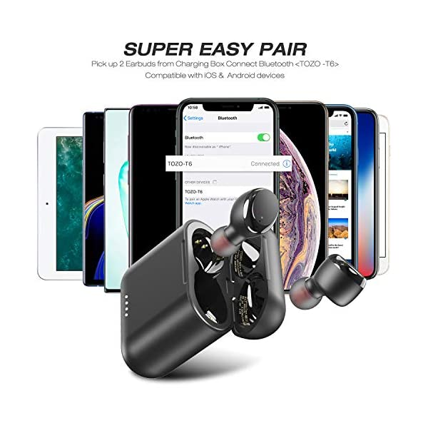 Wireless Earbuds Bluetooth Headphones Touch Control with Wireless Charging Case IPX8 Waterproof Built-in Mic Deep Bass for Sport 5