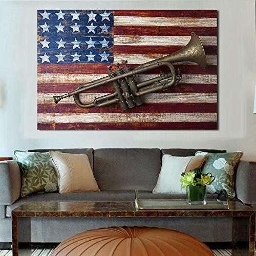 YuanMinglu Wandkunst Leinwand alte Trompete Bild rahmenlose Malerei auf der amerikanischen Flagge Malerei Fotografie Wand