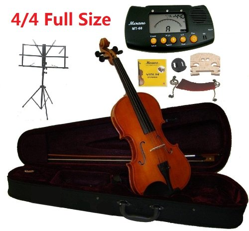 Merano 4/4 Full Size Student Violin with Case and Bow+Extra Set of Strings Extra Bridge Shoulder Rest Rosin Metro Tuner Black Music Stand and Rubber Mute