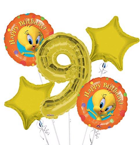 Tweety Bird Happy Birthday Balloon Bouquet 9th Birthday 5 pcs - Party Supplies