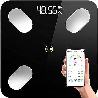 Retoo Digitale Bluetooth weegschaal met lichaamsanalyseweegschaal, gehard glas, personenweegschaal met app iOS en Android,...
