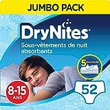 DryNites, Sous-vêtements de nuit absorbants jetables, Pour garçons, Taille: 8-15 ans (27-57 kg), 52...